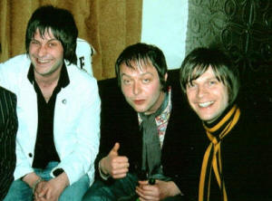 The Aftermath's Mick (left) and Johnny Cronin with Nick of the Kaiser Chiefs