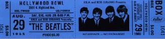 A ticket for the Beatles at the Hollywood Bowl