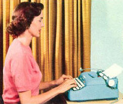 A female rock critic & her typewriter