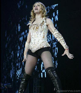 Madonna in a pair of hot pants